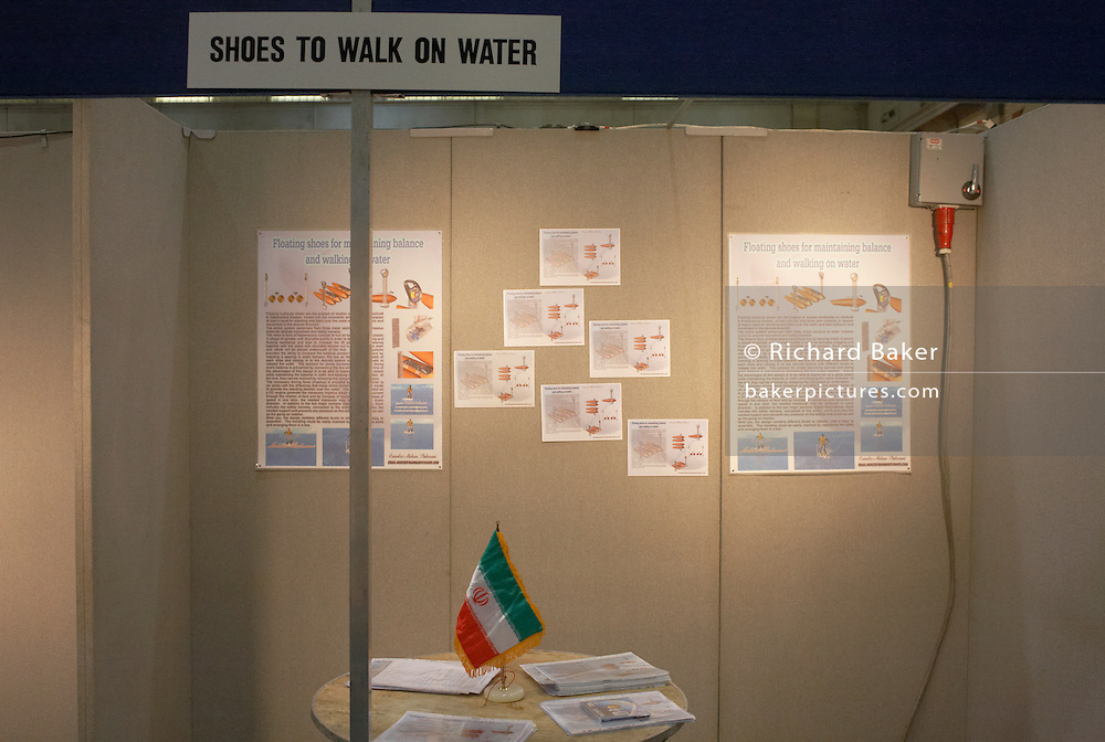 An Iranian stand for entrepreneurs demonstrating fun ideas at an inventors fair in Alexandra Palace, London