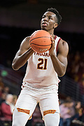 Southern California Trojans forward Onyeka Okongwu (21) against the Pepperdine Waves during an NCAA college basketball game, Tuesday, Nov. 19, 2019, in Los Angeles. USC defeated Pepperdine 91-84. (Jon Endow/Image of Sport)