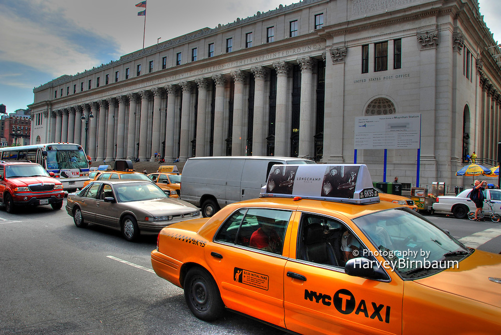 USA, Post Office. Taxi, New York City, NYC, Manhattan