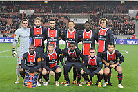 FOOTBALL - UEFA EUROPA LEAGUE 2011/2012 - GROUP STAGE - GROUP F - PARIS SAINT GERMAIN v ATHLETIC BILBAO - 14/12/2011 - PHOTO JEAN MARIE HERVIO / DPPI - TEAM PSG (BACK ROW LEFT TO RIGHT : NICOLAS DOUCHEZ / MATHIEU BODMER / JAVIER PASTORE / NENE / JEAN CHRISTOPHE BAHEBECK / DIEGO LUGANO . FRONT ROW : ZOUMANA CAMARA / SYLVAIN ARMAND / SIAKA TIENE / KEVIN GAMEIRO / CEARA )