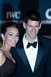 © Licensed to London News Pictures. 06/02/2012. London, UK. Tennis player Novalk Djokovic  and girlfriend Jelena Ristic arriving on the red carpet for the Laureus World Sports Awards 2012. Dozens of sports and Hollywood celebrities arrived in the English capital to attend the event held at the Queen Elizabeth II Conference Centre in the same year that London will host the Olympic Games. Photo credit : Ben Cawthra/LNP