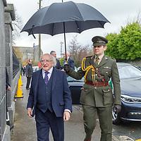 President Michael D Higgins arrives for the funeral of Mícheál Ó'Súilleabháin which took place at St Senans Church Kilrush