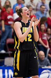March 22, 2010; Stanford, CA, USA;  Iowa Hawkeyes center Morgan Johnson (12) during the first half against the Stanford Cardinal in the second round of the 2010 NCAA womens basketball tournament at Maples Pavilion. Stanford defeated Iowa 96-67.