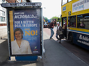 "Editorial Use Only: ..Mary Lou McDonald of Sinn Feinn says ""no"" to the Lisbon Treaty on a bus stop at Marino, Dublin.  The advertisement on the bus promotes a ""yes"" vote. .. The vote takes places on 12 June 2008. As of June 6th, the no-vote was reportedly overtaking the yes campaign..."
