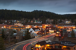 """Downtown Truckee 19"" - Photograph of historic Downtown Truckee at dusk."