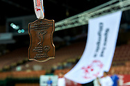 Katowice, Poland - 2017 September 03: Special Olympics medal while Awarding Ceremony during European Unified Volleyball Tournament 2017 at Spodek Hall on September 03, 2017 in Katowice, Poland.<br /> <br /> Adam Nurkiewicz declares that he has no rights to the image of people at the photographs of his authorship.<br /> <br /> Picture also available in RAW (NEF) or TIFF format on special request.<br /> <br /> Any editorial, commercial or promotional use requires written permission from the author of image.<br /> <br /> Image can be used in the press when the method of use and the signature does not hurt people on the picture.<br /> <br /> Mandatory credit:<br /> Photo by © Adam Nurkiewicz / Mediasport