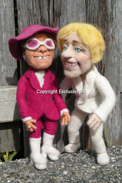 USA - 17/-8/2010 - Celebrity Sculptural needle felting by Kay Petal from Alaska has been creating amazing creations since 2007.all these creations are made by a single needle and wool.<br /> Photo Shows: Ellen DeGeneres and Elton John<br /> (&copy;Kay Petal/Exclusivepix)