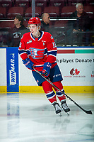 KELOWNA, BC - JANUARY 31: Filip Král #18 of the Spokane Chiefs warms up on the ice against the Kelowna Rockets at Prospera Place on January 31, 2020 in Kelowna, Canada. (Photo by Marissa Baecker/Shoot the Breeze)
