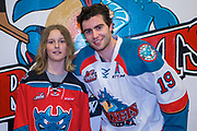 KELOWNA, CANADA - MARCH 24:  Winner with Dillon Dube #19 of the Kelowna Rockets at the Kelowna Rockets game on March 24, 2018 at Prospera Place in Kelowna, British Columbia, Canada.  (Photo By Cindy Rogers/Nyasa Photography,  *** Local Caption ***