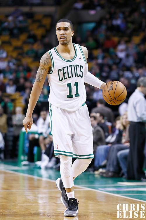 30 January 2013: Boston Celtics shooting guard Courtney Lee (11) brings the ball upcourt during the Boston Celtics 99-81 victory over the Sacramento Kings at the TD Garden, Boston, Massachusetts, USA.