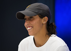 September 5, 2018 - Madison Keys of the United States talks to the media after winning her quarter-final match at the 2018 US Open Grand Slam tennis tournament. New York, USA. September 05, 2018. (Credit Image: © AFP7 via ZUMA Wire)