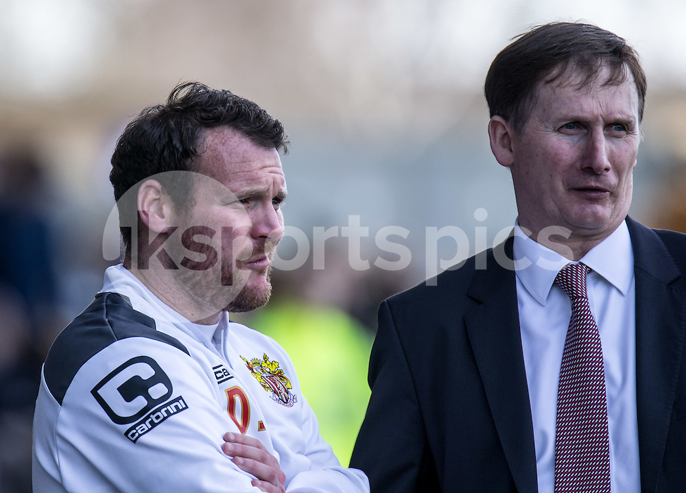 Glenn Roeder (right) new managerial advisor until the end of the season with Stevenage Caretaker Manager Darren Sarll before the Sky Bet League 2 match between Oxford United and Stevenage at the Kassam Stadium, Oxford, England on the 25th March 2016. Photo by Liam McAvoy.