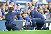 Everton striker Theo Walcott (11) gets treatment during the Premier League match between Everton and Huddersfield Town at Goodison Park, Liverpool, England on 1 September 2018.