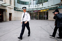 © Licensed to London News Pictures. 05/02/2017. London, UK. Outgoing Metropolitan Police commissioner Sir BERNARD HOGAN-HOWE leaves BBC Broadcasting House in London after appearingz on The Andrew Marr show on BBC One on 5 February 2017. Photo credit: Tolga Akmen/LNP