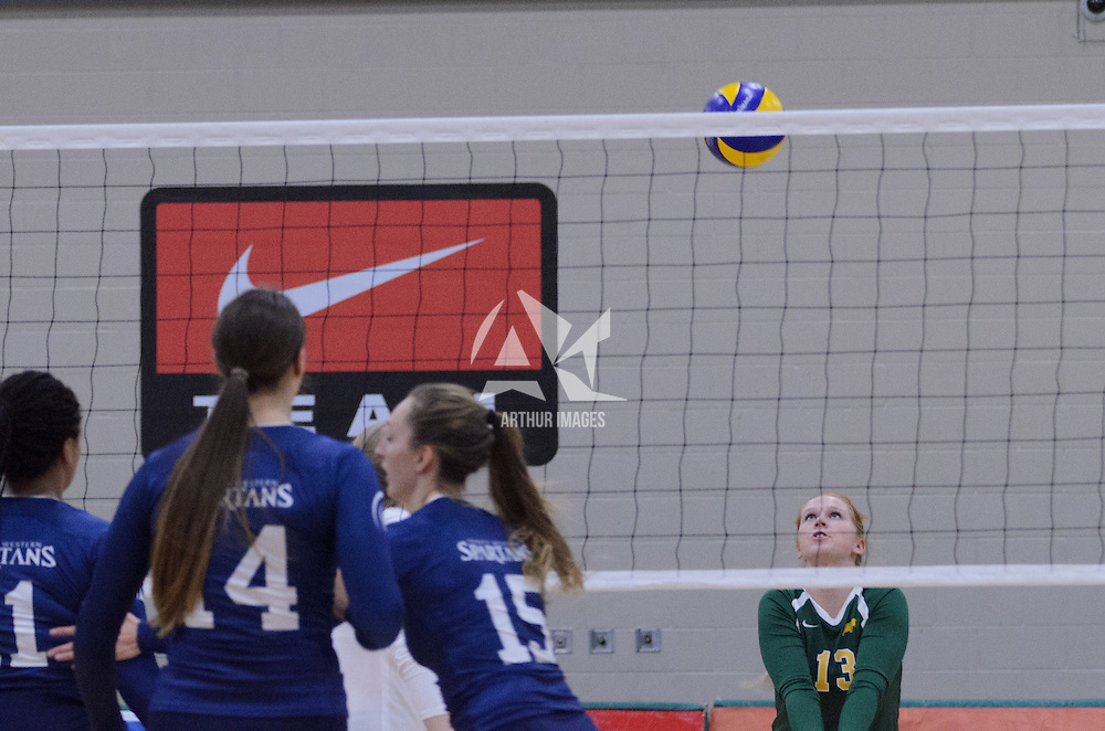 3rd year libero Taylor Ungar (13) of the Regina Cougars in action during the Women's Volleyball Home Game vs Trinity Western  on October 28 at the CKHS University of Regina. Credit Matt Johnson/Arthur Images