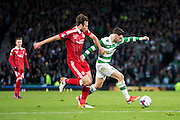 Celtic midfielder Patrick Roberts (#27) holds off a challenge during the Scottish Cup final match between Aberdeen and Celtic at Hampden Park, Glasgow, United Kingdom on 27 November 2016. Photo by Craig Doyle.