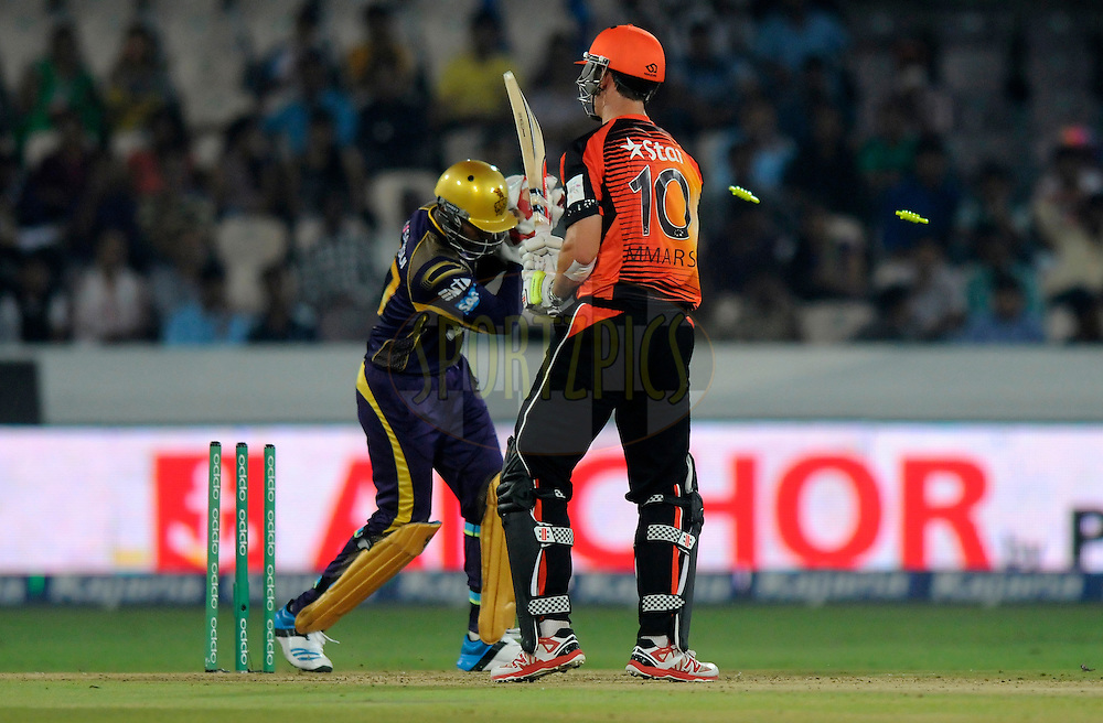 Mitchell Marsh of Perth Scorchers gets stumped out by Robin Uthappa of Kolkata Knight Riders during match 10 of the Oppo Champions League Twenty20 between the Kolkata Knight Riders and the Perth Scorchers held at the Rajiv Gandhi Cricket Stadium, Hyderabad, India on the 24th September 2014<br /> <br /> Photo by:  Pal Pillai / Sportzpics/ CLT20<br /> <br /> <br /> Image use is subject to the terms and conditions as laid out by the BCCI/ CLT20.  The terms and conditions can be downloaded here:<br /> <br /> http://sportzpics.photoshelter.com/gallery/CLT20-Image-Terms-and-Conditions-2014/G0000IfNJn535VPU/C0000QhhKadWcjYs