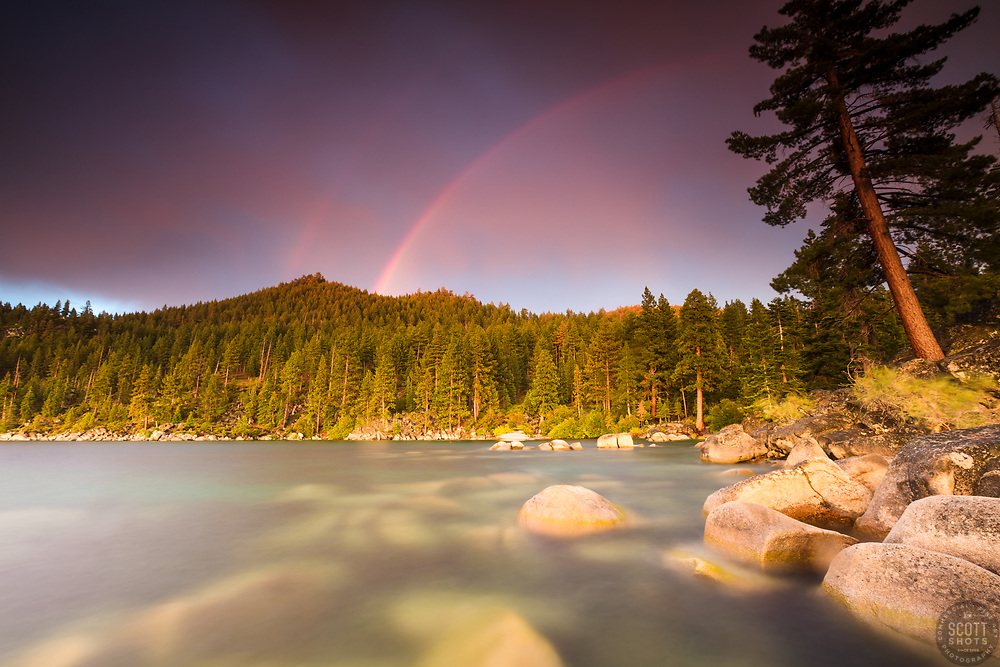 """Rainbow Over Lake Tahoe 2"" - Photograph of a double rainbow at sunset, shot at Skunk Harbor, Lake Tahoe."