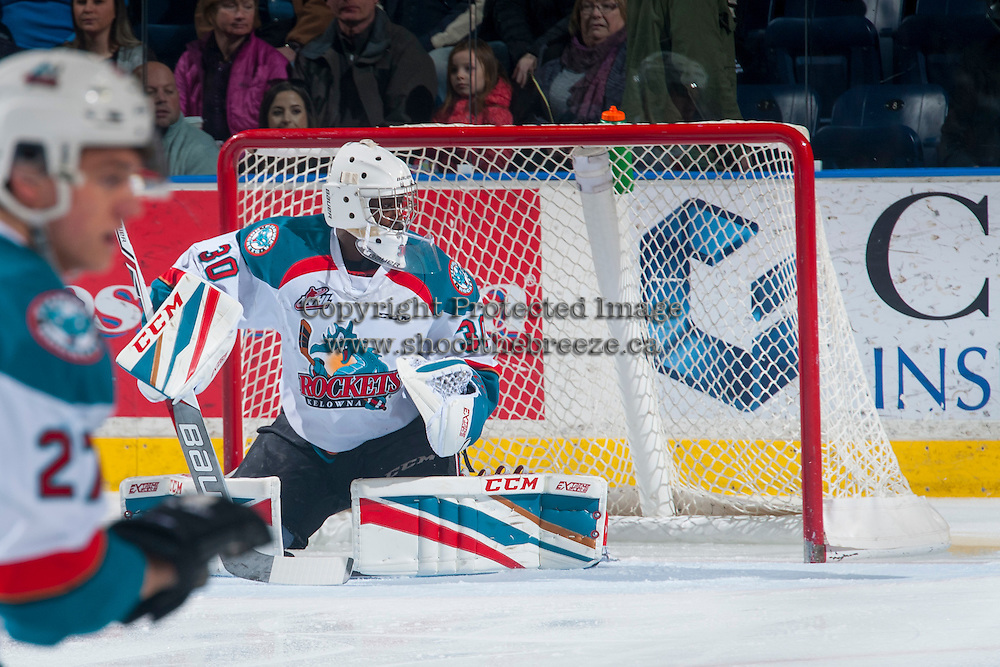KELOWNA, CANADA - FEBRUARY 13: Michael Herringer #30 of the Kelowna Rockets defends the net against the Seattle Thunderbirds on February 13, 2017 at Prospera Place in Kelowna, British Columbia, Canada.  (Photo by Marissa Baecker/Shoot the Breeze)  *** Local Caption ***