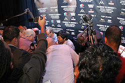 Sept 19, 2012; New York, NY, USA; Manny Pacquiao during the press conference announcing the fourth fight between Manny Pacquaio and Juan Manuel Marquez at The Edison Ballroom. Mandatory Credit: Ed Mulholland-US PRESSWIRE
