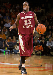 Florida State guard Toney Douglas (23) in action against UVA.  The Virginia Cavaliers fell to the Florida State Seminoles 73-62 in NCAA Basketball at the John Paul Jones Arena on the Grounds of the University of Virginia in Charlottesville, VA on January 24, 2009.