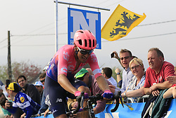 Alberto Bettiol (ITA) EF Education First out front alone as he climbs the Paterberg for the last time during the 2019 Ronde Van Vlaanderen 270km from Antwerp to Oudenaarde, Belgium. 7th April 2019.<br /> Picture: Eoin Clarke | Cyclefile<br /> <br /> All photos usage must carry mandatory copyright credit (© Cyclefile | Eoin Clarke)