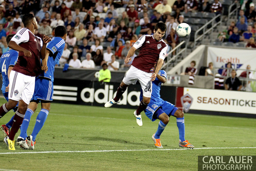 June 15th, 2013 - Colorado Rapids midfielder Nathan Sturgis (24) scores Colorado's only goal off of a header in the second half of the MLS match between San Jose Earthquake and the Colorado Rapids at Dick's Sporting Goods Park in Commerce City, CO