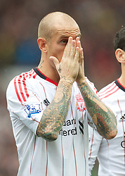 MANCHESTER, ENGLAND - Sunday, September 19, 2010: Liverpool's Raul Meireles before his Premier League debut, the Premiership match against Manchester United at Old Trafford. (Photo by David Rawcliffe/Propaganda)