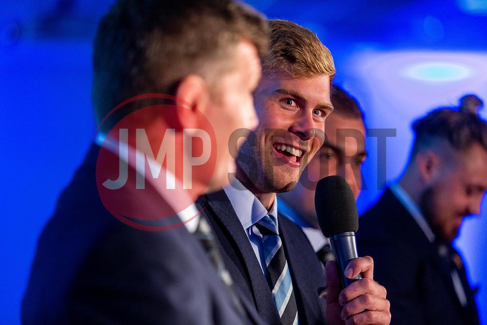 Mark Stevens interviews James McRae during a Q&A Session - Ryan Hiscott/JMP - 06/08/2018 - RUGBY - Sandy Park - Exeter, England - Exeter Chiefs Season Launch Dinner