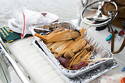 "Tamales and venison sausage at the Kent ""sailgate"" before the Baylor v. TCU game at McLane Stadium in Waco, Texas on October 11, 2014. (Cooper Neill for The New York Times)"
