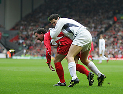 LIVERPOOL, ENGLAND - SUNDAY MARCH 27th 2005: Liverpool Legends' Robbie Fowler and Celebrity XI's Patrick McGuiness during the Tsunami Soccer Aid match at Anfield. (Pic by David Rawcliffe/Propaganda)