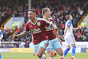 Burnley forward Andre Gray scores a goal and celebrates to make the score 1-0  during the Sky Bet Championship match between Burnley and Blackburn Rovers at Turf Moor, Burnley, England on 5 March 2016. Photo by Simon Davies.