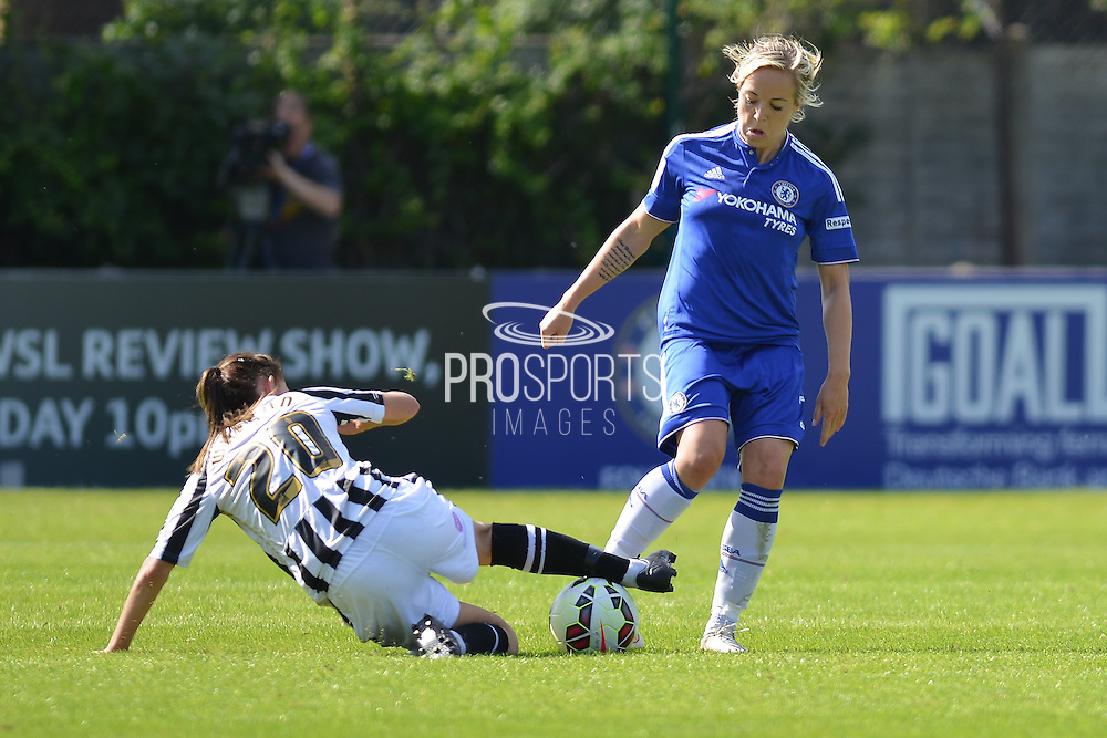 Notts County Ladies forward Aileen Whelan makes the tackle during the FA Women's Super League match between Chelsea Ladies FC and Notts County Ladies FC at Staines Town FC, Staines, United Kingdom on 6 September 2015. Photo by Mark Davies.