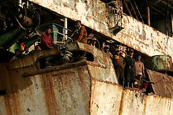 BANGLADESH MADHOM BIBIR HAT 7MARB05 - Labouroers aboard a scrapped Russian vessel at a shipbreaking yards at Madhom Bibir Hat outside Chittagong, Bangladesh...jre/Photo by Jiri Rezac..© Jiri Rezac 2005..Contact: +44 (0) 7050 110 417.Mobile: +44 (0) 7801 337 683.Office: +44 (0) 20 8968 9635..Email: jiri@jirirezac.com.Web: www.jirirezac.com..© All images Jiri Rezac 2005 - All rights reserved.