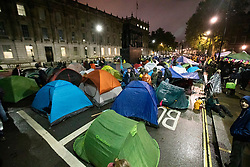 © Licensed to London News Pictures. 07/10/2019. London, UK. Extinction Rebellion protesters erect tents in Whitehall . Photo credit: George Cracknell Wright/LNP