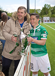 RHOSYMEDRE, WALES - Sunday, May 5, 2019: The New Saints' Danny Redmond with the trophy after the FAW JD Welsh Cup Final between Connah's Quay Nomads FC and The New Saints FC at The Rock. The New Saints won 3-0. (Pic by David Rawcliffe/Propaganda)