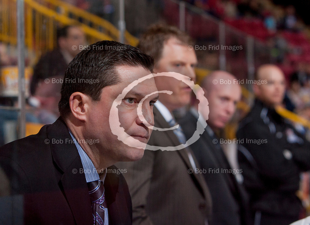 22 November 2014:   Chiefs Associate Coach Kyle Adams during a game between the Chilliwack Chiefs and the Coquitlam Express at Prospera Centre, Chilliwack, BC.    ****(Photo by Bob Frid - All Rights Reserved 2014): mobile: 778-834-2455 : email: bob.frid@shaw.ca ****