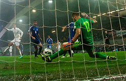 Tasos Kissas, goalkeeper of Cyprus  during football match between National teams of Slovenia and Cyprus in 3rd Round of Group E of FIFA World Cup 2014 Qualification on October 12, 2012 in Stadium Ljudski vrt, Maribor, Slovenia. (Photo By Vid Ponikvar / Sportida)