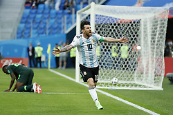 (L-R) Kenneth Omeruo of Nigeria, Lionel Messi of Argentina during the 2018 FIFA World Cup Russia group  D match between Nigeria and Argentina at the Saint Petersburg Stadium on June 26, 2018 in Saint Petersburg, Russia