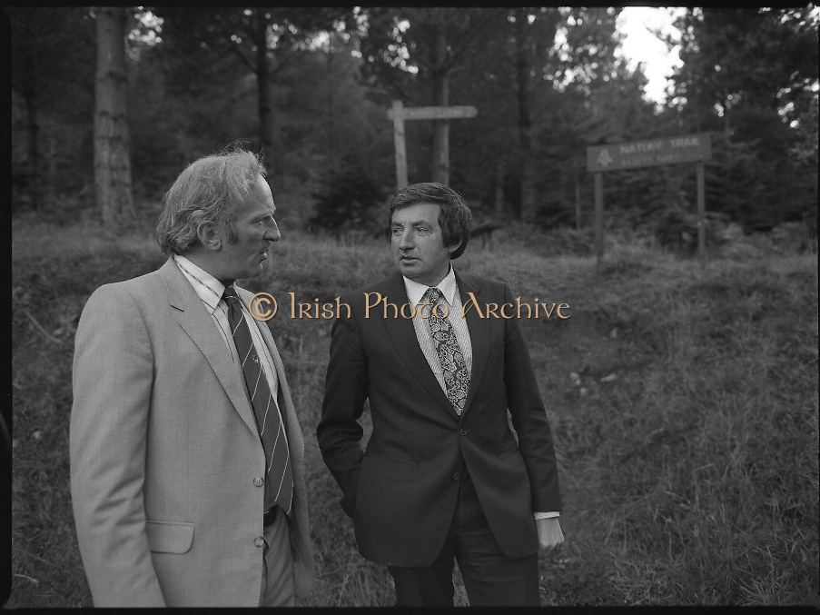 """The Carlingford Oyster Festival.1982.19.08.1982..08.19.1982.19th August 1982..Pictures and Images of the Carlingford Oyster Festival... The Minister For Fisheries and Forestry Mr Brendan Daly officially opened  The Carlingford Oyster Festival. The Chairman of the organising committee was Mr. Joe McKevitt..""""The Oyster Pearl"""" was Ms Deirdre McGrath..Mr McKevitt points out aspects of the local nature trail."""