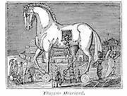 Trojan Horse: Greek raiding party secreting themselves in the great wooden horse, 13th or 12th century BC. From the Rev. Royal Robbins 'The World Displayed', New York, 1830