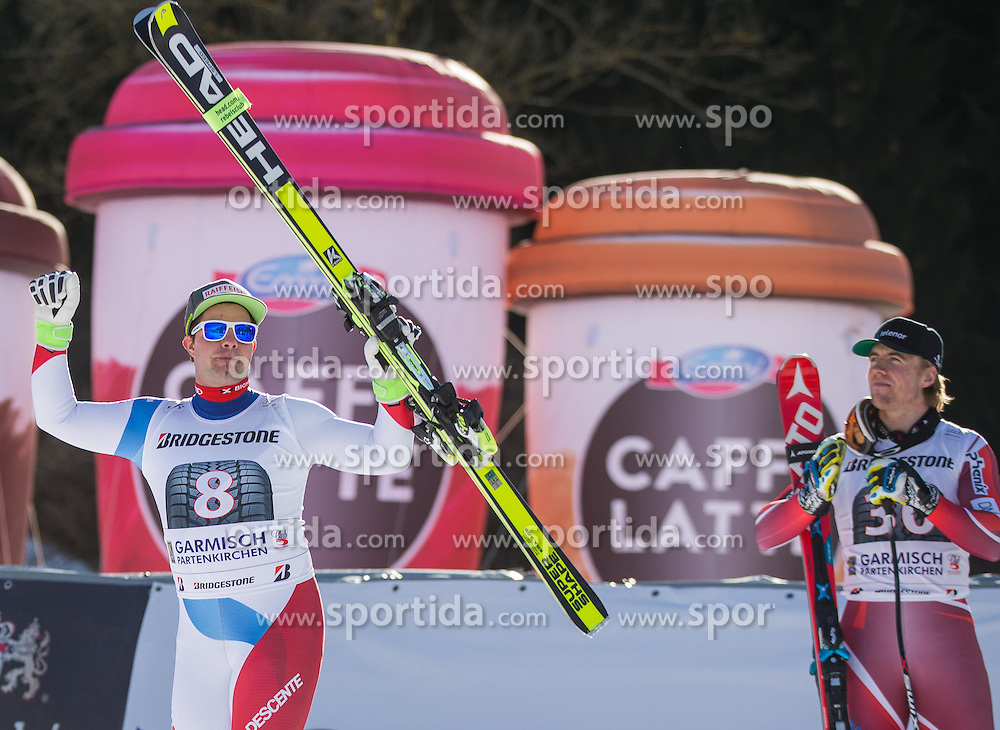30.01.2016, Kandahar, Garmisch Partenkirchen, GER, FIS Weltcup Ski Alpin, SuperG, Damen, Siegerpräsentation, im Bild Beat Feuz (SUI, 3. Platz), Aleksander Aamodt Kilde (NOR, 1. Platz)// 3rd placed Beat Feuz of Switzerland and winner Aleksander Aamodt Kilde of Norway on podium during the winner presentation for the men's Downhill of Garmisch FIS Ski Alpine World Cup at the Kandahar course in Garmisch Partenkirchen, Germany on 2016/01/30. EXPA Pictures © 2016, PhotoCredit: EXPA/ Johann Groder