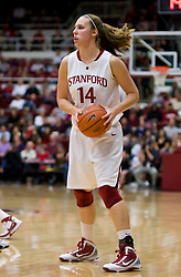 February 20, 2010; Stanford, CA, USA;  Stanford Cardinal forward Kayla Pedersen (14) during the second half against the Oregon St. Beavers at Maples Pavilion.  Stanford defeated Oregon State 82-48.