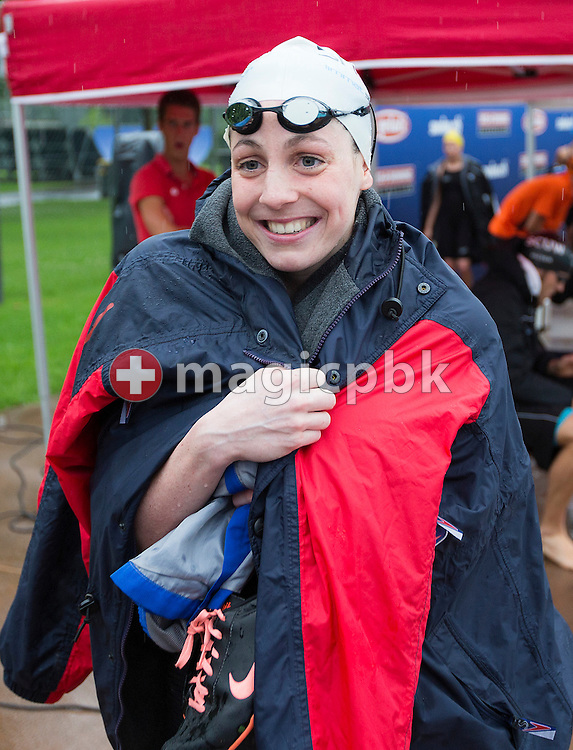 LIMM's Danielle VILLARS of Switzerland on her way out after competing in the women's 200m Freestyle Final during the Swiss Swimming Summer Championships held at the 50m outdoor pool at the Centro sportivo nazionale della gioventu in Tenero, Switzerland, Friday, July 4, 2014. (Photo by Patrick B. Kraemer / MAGICPBK)