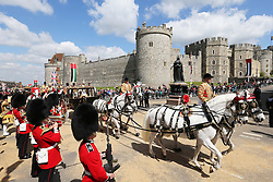 The state carriage procession in Windsor of The Queen and The President of the United Arab Emirates, Sheikh Khalifa bin Zayed Al Nahyan on  the first day of his State Visit to the UK, Tuesday, 30th April 2013 Photo by: Stephen Lock / i-Images