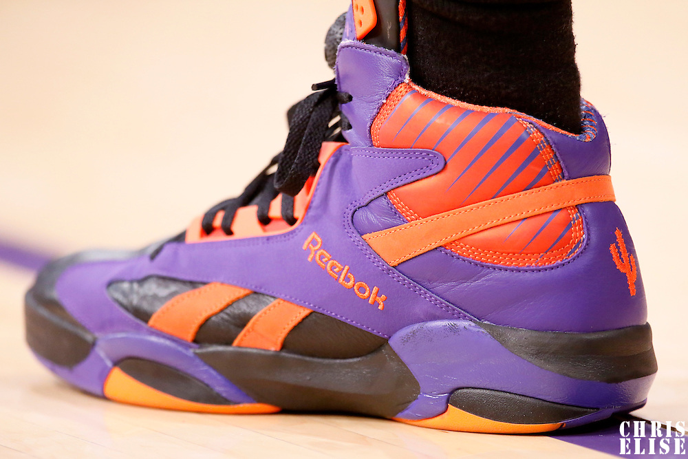 10 December 2013: Close view of Phoenix Suns shooting guard Gerald Green (14) shoes during the Phoenix Suns 114-108 victory over the Los Angeles Lakers at the Staples Center, Los Angeles, California, USA.