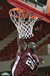 05 January 2014:  Anthony Beane launches a slam during an NCAA  mens basketball game between the Salukis of Southern Illinois and the Illinois State Redbirds  in Redbird Arena, Normal IL.  Final score ISU 66, SIU 48