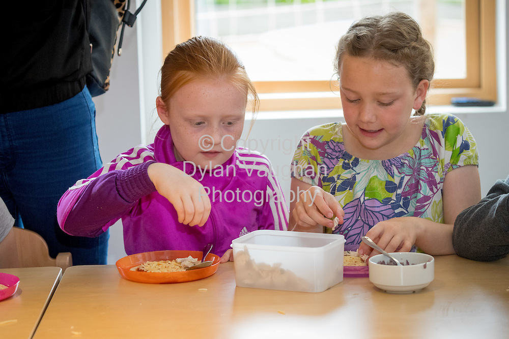 Repro Free no charge for Repro<br /> <br /> 15-6-16<br /> <br /> DERVAL O&rsquo;ROURKE CELEBRATES WITH WINNING MOO CREW SCHOOLS FROM DONEGAL &amp; LONGFORD<br />  <br /> Derval O&rsquo;Rourke, the well-known sprint hurdler who is a World Indoor Champion, multiple European medallist and three time Olympian, was in Dublin today (15th June, 2016) to celebrate with the top winning primary school children in the National Dairy Council&rsquo;s Moo Crew &ndash; Primary Dairy Moovement.<br /> Moo Crew is a fun and interactive way for children to learn about the benefits of a healthy, balanced diet and the importance of exercise &ndash; to &lsquo;get moo-ving&rsquo;.  It is supported by the NDC in light of research that showed 37% of girls and 28% of boys aged from 5 &ndash; 12 years in Ireland had inadequate calcium intakes in their diet.<br />  <br /> The top classes in the Junior Category and Senior Category of the NDC&rsquo;s national competition each won a sports equipment pack worth &euro;1,000 for their school and the day out in Airfield Farm in Dublin, with Olympic star Derval O&rsquo;Rourke.  The overall national winners of Moo Crew for 2016 are:<br /> &middot;         National Winners, Junior Category - Junior Class, Little Angels Special School, Letterkenny, Co. Donegal (Junior class Teacher Mr. Daire Diver)<br /> &middot;         National Winners, Senior Category - 4th &amp; 5th Class, Sacred Heart Primary School, Granard, Co Longford (Teachers Ms. Carmel Shaughnessy and Ms. Grace McGauran)<br /> <br /> Milly, the Moo Crew Mascot cow, joined in the action packed day which included milking cows, farmyard experiences and butter making; as well as activities such as bug hunting and woodland walks.  Further details and information about county winners at www.ndc.ie.<br />  <br /> Pictured at Airfield Farm were students from Sacred Heart Primary School,Granard, Co Longford.<br /> Picture Dylan Vaughan