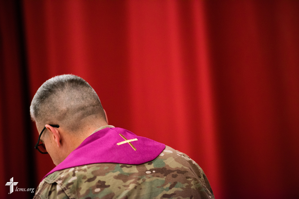 Army Lt. Col Steven Hokana, chaplain, leads worship at Camp Arifjan on Sunday morning, March 22, 2015, in Kuwait. LCMS Communications/Erik M. Lunsford