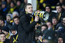 A Young Boys fan acts as cheerleader with a tannoy - Photo mandatory by-line: Matt McNulty/JMP - Mobile: 07966 386802 - 26/02/2015 - SPORT - Football - Liverpool - Goodison Park - Everton v Young Boys - UEFA EUROPA LEAGUE ROUND OF 32 SECOND LEG